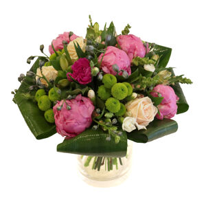 Seasonal bouquet with cones, roses